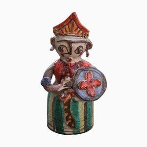 Escultura de guerrero siciliano italiana de cerámica de Giovanni DeSimone, años 50