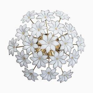 Lámpara de techo italiana con flores de cristal de Murano, años 70