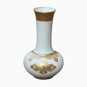 Vase Mid-Century en Porcelaine & Or 24 Carats par Arrigo Finzi, 1950s