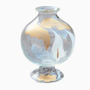 Jarrón italiano floral de cristal de Murano, años 70