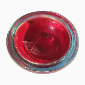 Small Red Murano Art Glass Bowl from Seguso, 1960s