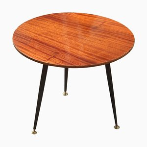 Round Mid-Century Italian Modern Iron, Brass, & Mahogany Coffee Table, 1950s
