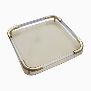 Italian Brass, Resin & Plexiglas Tray, 1970s