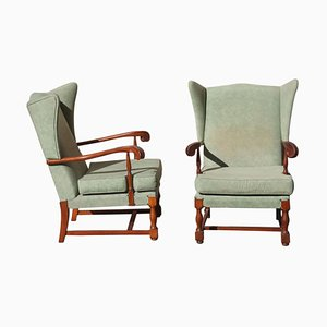 Mid-Century Modern Mahogany Armchairs with High Backs, Set of 2