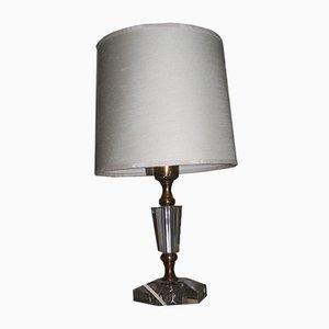 Lámpara de mesa Mid-Century de cristal y latón, años 50
