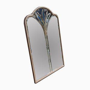 French Brass Flower Wall Mirror, 1970s
