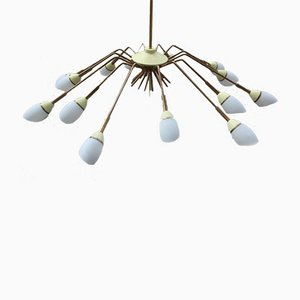 Mid-Century Brass and White Glass Chandelier in the Style of Stilnovo
