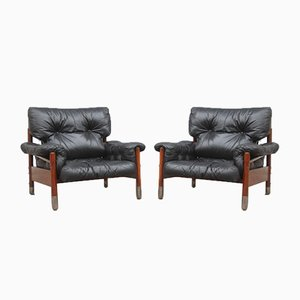 Black Leather Armchairs by Carlo de Carli for Sormani, 1960s, Set of 2