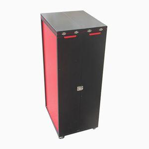 Vintage Portable Black & Red Laminate Cabinet