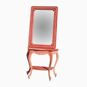 Juego de consola y espejo de terciopelo rosa de Giuseppe De Vivo, años 50