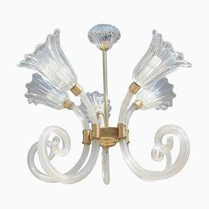 Lámpara de araña floral de cristal de Murano de Barovier & Toso, años 50