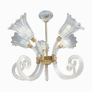 Murano Glass Floral Chandelier from Barovier & Toso, 1950s
