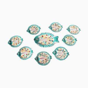 Glazed Ceramic Fish Plates Set by Giovanni De Simone, 1960s