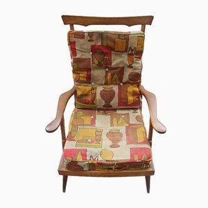 Poltrona Mid-Century reclinabile in legno di castagno