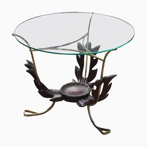 Round Mid-Century Italian Brass & Glass Coffee Table