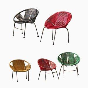 Chaises pour Enfants Vintage en Fer et en Plastique, Set de 5
