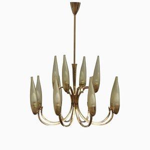 Mid-Century Italian Brass & Glass Chandelier, 1950s