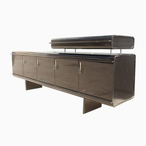 Large Black Pellicano Sideboard by Vittorio Introini for Saporiti Italia, 1960s