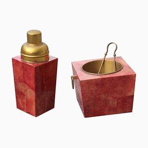 Juego de jarra y caja para hielo de latón y piel de cabra de Aldo Tura, años 50