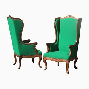 Mid-Century Sessel aus grüner Wolle & Nussholz mit hoher Rückenlehne, 1950er, 2er Set