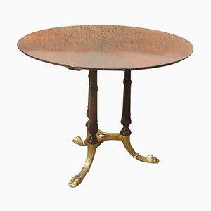 Mesa de comedor italiana Mid-Century redonda de latón y palisandro