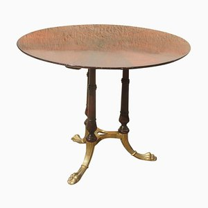 Round Mid-Century Italian Rosewood & Brass Dining Table