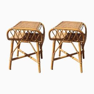 Tables de Chevet Mid-Century en Bambou de Bonacina, 1950s, Set de 2