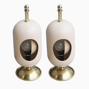 Mid-Century Italian Ceramic & Brass Eclipse Table Lamps, Set of 2