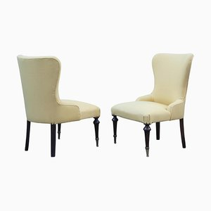 Mid-Century Italian Wood & Brass Armchairs, 1950s, Set of 2