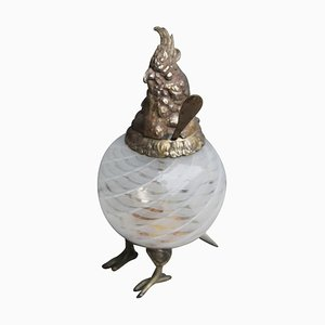 Mid-Century Italian Murano Glass & Metal Bird Container with Lid