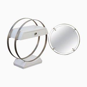 Mesa consola italiana vintage pequeña con espejo, años 70
