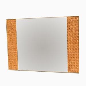 Espejo italiano rectangular con paja vienesa , años 50