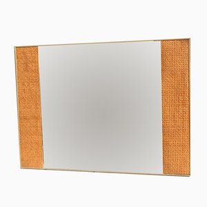 Rectangular Italian Mirror with Vienna Straw, 1950s