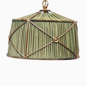 Lámpara colgante de seda verde y latón, años 50