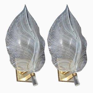 Apliques de cristal de Murano blanco y dorado de Franco Luce, años 70. Juego de 2