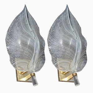 Gold & White Murano Glass Sconces from Franco Luce, 1970s, Set of 2
