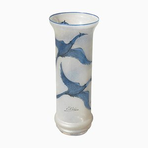 Vintage Sandblasted Glass Vase with Engraved Swans by E. Cris, 1970s