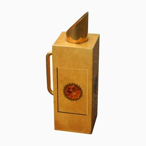 Mid-Century Brass & Goat Skin Termos Flask by Aldo Tura