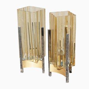 Lámparas de mesa vintage cúbicas de acero y vidrio amarillo, años 70. Juego de 2