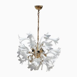 Vintage Brass & Murano Glass Flower Chandelier, 1970s