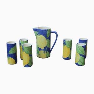 Servicio de agua italiano de cerámica de Ernestine, años 50