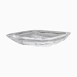 Cuenco francés rectangular transparente de Daum, años 60