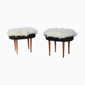 Taburetes de lana y castaño, años 60. Juego de 2