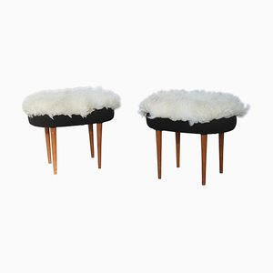 Wool & Chestnut Stools, 1960s, Set of 2