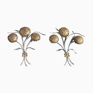 Apliques vintage florales de metal dorado y plateado, años 50. Juego de 2