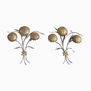 Vintage Gold & Silver-Plated Metal Flower Sconces, 1950s, Set of 2