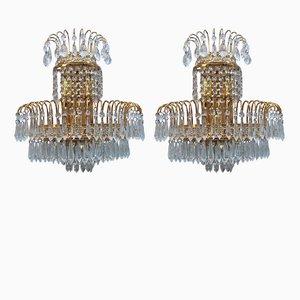 Vintage Gold-Plated Swarovski Crystal Wall Lights, 1970s, Set of 6