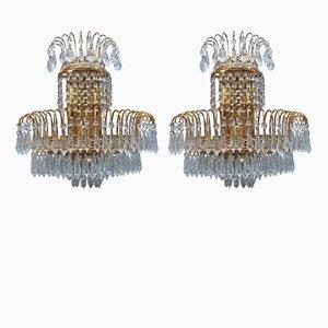 Lámparas de pared vintage de cristal Swarovski dorado, años 70. Juego de 6