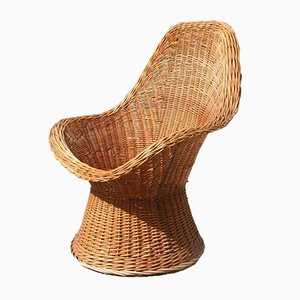 Mid-Century Italian Woven Bamboo Lounge Chair from Bonacina