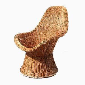 Mid-Century Italian Woven Bamboo Lounge Chair from Bonacina